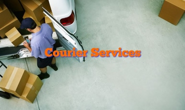 Courier Parcel Delivery Van and Man Unloading w Text 370 x 220